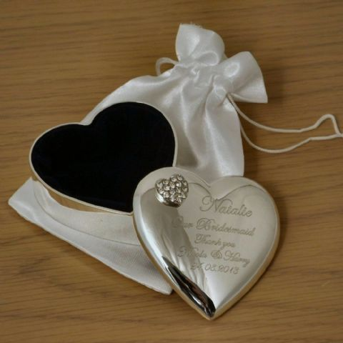Personalised Heart Trinket Box with Crystal Heart and Silk Bag